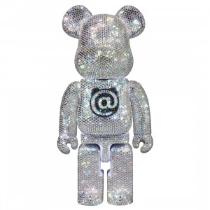 Medicom Lights Style Swarovski Crystal Decorate 400% Bearbrick Figure (silver)