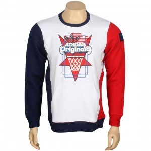 Adidas Top Ten Art Fleece Crew Sweater (white / blue / red)