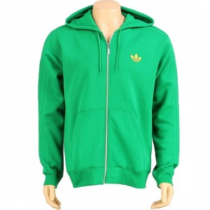 Adidas Sport Hooded Flock Fleece Zip Up Hoody (fairway / sunshine)