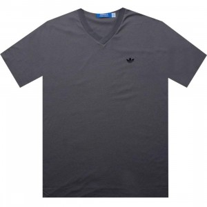 Adidas Solid V-Neck Tee (medium lead / black)