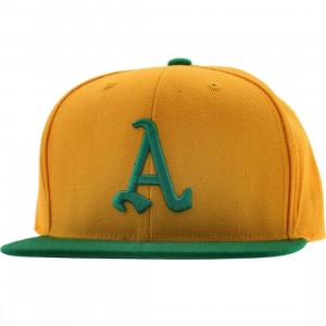 American Needle Oakland Athletics Replica Wool Snapback Cap (gold / kelly green)