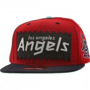 BAIT x MLB x American Needle Los Angeles Angels Retro Snapback Cap (red / navy)
