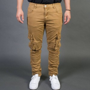 Embellish NYC Men Liam Cargo Biker Jeans (tan)