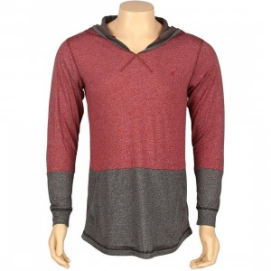 ARSNL Sabastien Light Weight Hooded Long Sleeve Tee (maroon speckle)