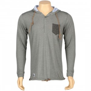 ARSNL Frost Henley Hooded Long Sleeve Tee (grey speckle)