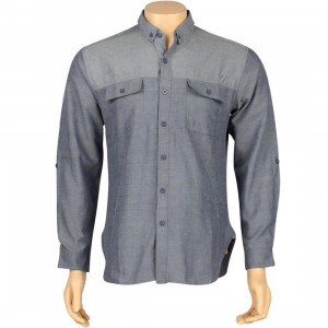 ARSNL Grant Woven Long Sleeve Shirt (blue chambray)