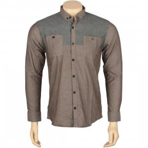 ARSNL Maurader Woven Long Sleeve Shirt (burnt grey chambray)