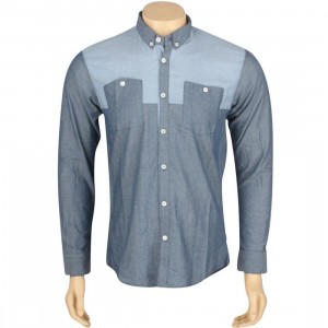 ARSNL Maurader Woven Long Sleeve Shirt (dark blue chambray)