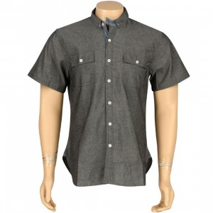 ARSNL Carter Woven Short Sleeve Shirt (black chambray)