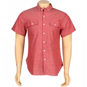 ARSNL Carter Woven Short Sleeve Shirt (red chambray)