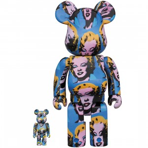 PREORDER - Medicom Andy Warhol Marilyn Monroe 100% 400% Bearbrick Figure Set (blue)