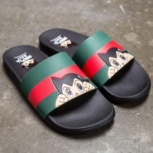 BAIT Men Astro Boy Face Logo Slides (black)
