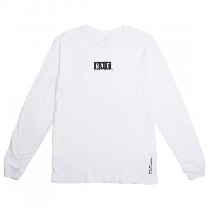 BAIT Men Bite Logo Long Sleeve Tee (white)