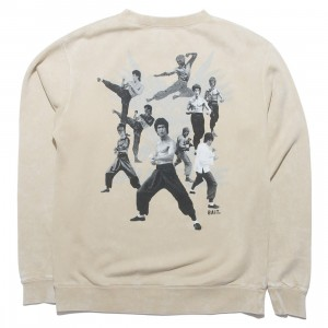 BAIT x Bruce Lee Men Dragon Mineral Wash Crewneck Sweater (sand)