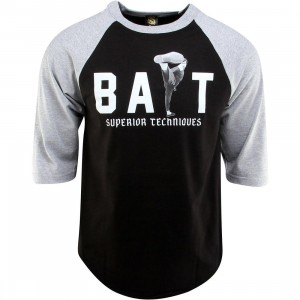 BAIT x Bruce Lee High Kick Raglan Tee (black / heather gray / white)