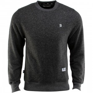 BAIT B Letter Invisible Pockets Fitted Crewneck (black)