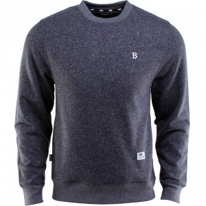 BAIT B Letter Invisible Pockets Fitted Crewneck (navy)