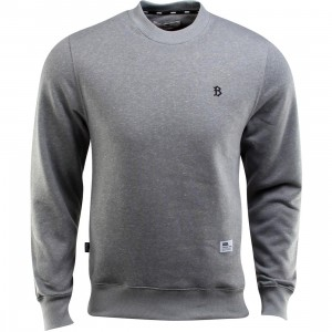 BAIT B Letter Invisible Pockets Fitted Crewneck (gray)