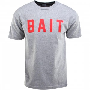 BAIT Logo Tee (gray / heather gray / red)