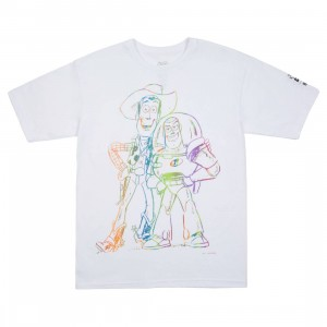 BAIT x Toy Story Men Buzz And Woody Best Friend Sketch Tee (white / gradient)