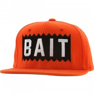 BAIT Box Logo Snapback Cap (orange / white)