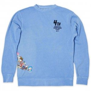 BAIT x Doraemon Men 4D Crew Neck Sweater (blue / light blue)