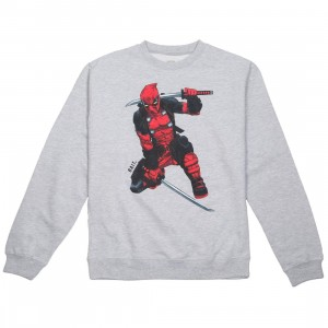 BAIT x Marvel Men Deadpool Two Swords Crewneck Sweater (gray / heather)