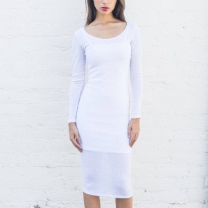 BAIT Women Body Con Dress With Inner Slip - Made in LA (white)
