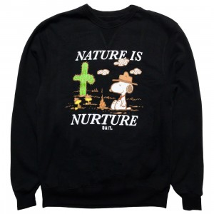 BAIT x Snoopy x Upcycle Men Nature Is Nurture Crewneck Sweater (black)