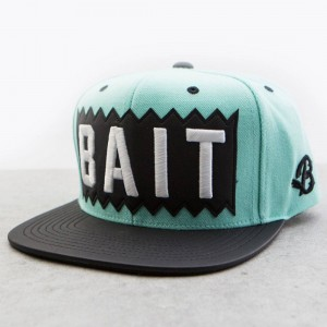 BAIT x Mitchell And Ness Box Logo Snapback Cap - Leather Brim (mint / black)