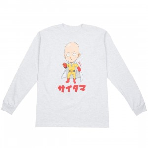 BAIT x One Punch Man Men Saitama Chibi Long Sleeve Tee (gray / ash)
