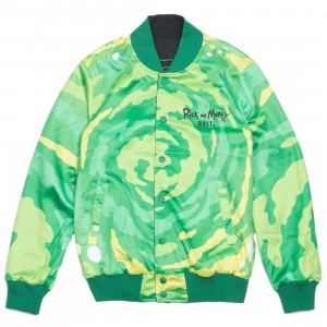 BAIT x Rick And Morty Men Reversible Varsity Jacket (black)