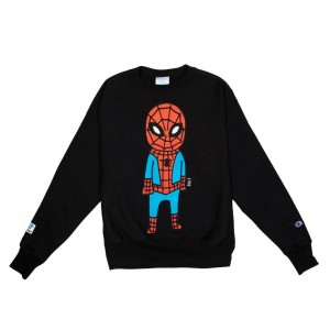 BAIT x Spiderman x Champion Men Spiderman Doodle Crewneck Sweater (black)