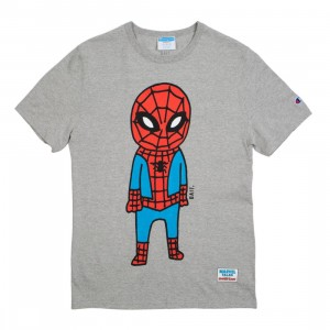 BAIT x Spiderman x Champion Men Spiderman Doodle Tee (gray / oxford)