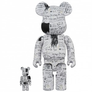 PREORDER - Medicom Jean-Michel Basquiat #3 100% 400% Bearbrick Figure Set (white)