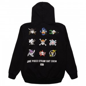 BAIT x One Piece x Upcycle LA Men Straw Hat Skulls Hoody (black)