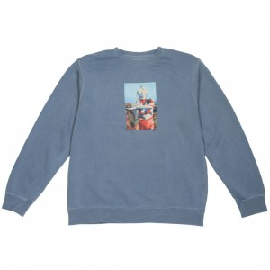 BAIT x Ultraman Men Hero Crewneck Sweater (blue / pigment)