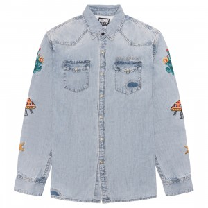 Billionaire Boys Club Men Hillside Long Sleeve Shirt (blue / denim)