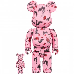 PREORDER - Medicom x Eri Wakiyama Bat And Rose Pink 100% 400% Bearbrick Figure Set (pink)