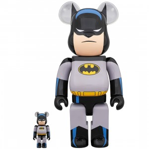 Medicom Batman Animated 100% 400% Bearbrick Figure Set (gray)