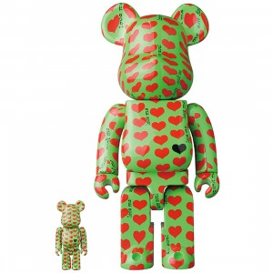 PREORDER - Medicom X Japan Hide Green Heart 100% 400% Bearbrick Figure Set (green)