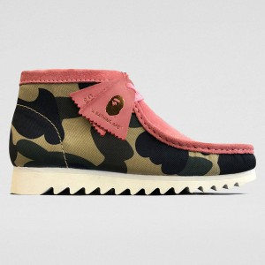 Clarks x A Bathing Ape Men Wallabee Boot (pink / coral combi)