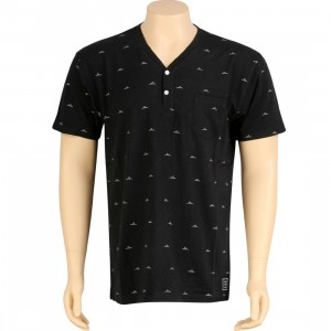 Crooks and Castles Knit V-Henley Top (black)