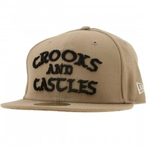 Crooks and Castles Logo New Era Fitted Cap (khaki)
