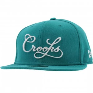 Crooks and Castles Script Logo New Era Fitted Cap (teal)