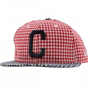 Crooks and Castles Plaid New Era Fitted Cap (red / white)