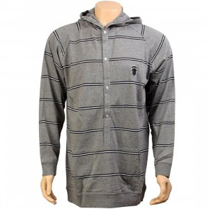 Crooks and Castles Stripe Hooded Sweater (heather grey)