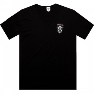 Crooks and Castles 2002 Crest V-neck Tee (black)