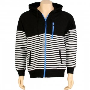 Dumb Zip Up Striped Hoody (black / white)