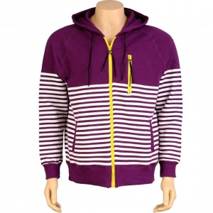 Dumb Zip Up Striped Hoody (purple / white)